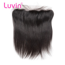 Luvin Peruvian Hair Lace Frontal Closure Straight 13x4 Bleached Knots With Baby Hair 100% Remy Human Hair Shipping Free