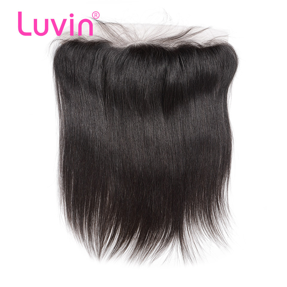 Luvin Human Hair Lace Frontal Closure Straight 13x4 Bleached Knots Pre Plucked With Baby Hair 100% Remy Peruvian Hair Closure(China)