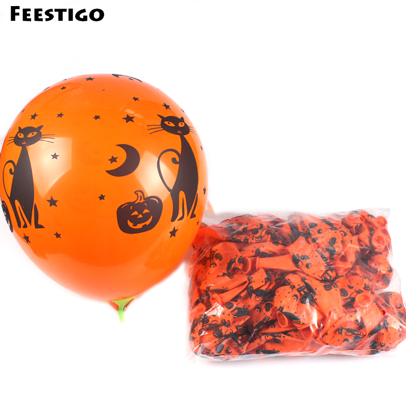 12inch 30 PCS/ Lot Halloween Party Latex Balloons Black Cat Skull Orange Balloons Halloween House Decoration Spider Web Balloons(China)