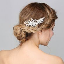 Handmade Bridal White Flower  Hair Comb Wedding Rhinestone Headpiece Women Party Headdress Combs acessorios para mulher