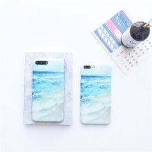 Simple blue sea Case For phone 7 Case TPU blue silicone soft Grind arenaceous Back Cover Phone Cases For Iphone7 6 6S Plus