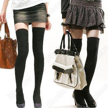 Hot Over The Knee Cotton Thigh High Cotton Stockings 0JOO Black Beige black sexy girl present birthday gift good quality(China)