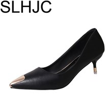 Buy SLHJC 2018 Spring Pointed Toe Metal Low Heel Shoes Shallow Mouth Thin Heels Leather Women Office Pumps for $13.00 in AliExpress store