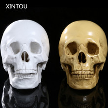 XINTOU Resin Medical Teaching Aids Skulls Head Figurines Crafts Halloween Simulation Human Skull Replica Escape Horrible props