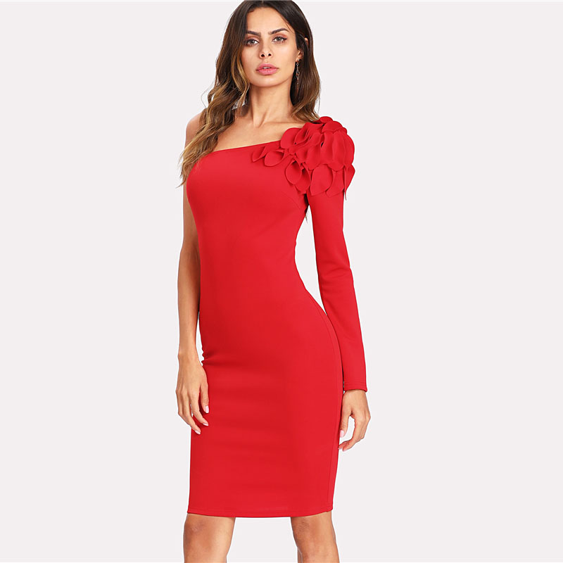 COLROVIE Asymmetrical Tiered Ruffle Shoulder Fitted Dress Red One Shoulder Long Sleeve Dress 2018 Short Ruffle Female Dress 6