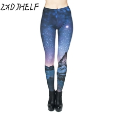 ZXDJHELF New 3D Women Leggings Sexy High Elastic Breathable Galaxy Space Legging Pants Fashion Solid Gradient Legins C055(China)