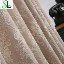 Daohuaxiang Stereo Embroidery Curtain Cotton FloralCurtains Cortinas For Living Room Bedroom Modern Tulle Kitchen Sheer(China)