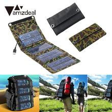 amzdeal 7W Folding Solar Panel Outdoor USB Battery Power Charger For Smart Phone Outdoor Travelling Powerbank DIY Cell Module(China)