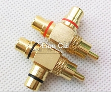 10pcs High Quality Gold Plated RCA Male to 2 Female RCA Splitter Adapter AV Video Audio T Plug RCA 3 way Plug