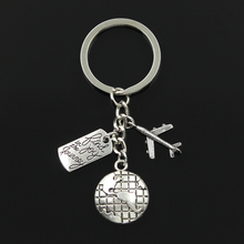 Buy Fashion 30mm Key Chain Keychain Jewelry Silver world travel find joy journey aircraft airplane Pendant for $1.74 in AliExpress store