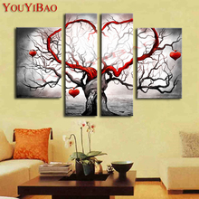 Hand Painted Modern Abstract Decoration Heart Life Tree Oil Painting Home Picture For Living Room Wall Art Canvas Decor 5 Piece