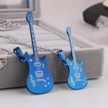 10pcs/lot Lovers Blue guitar Musical note pendant necklaces bead chain for men women 316L Stainless Steel necklace wholesale
