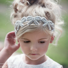 New Design Kids Girls Bow Headband Sweet Rhinestone BowKnot Headbands Adjustable Headwear Christmas Hair Bands Accessories(China)