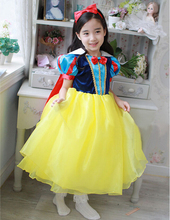 New design girl snow white princess costumes cosplay cute kids performance clothes cartoon girls chiffon dress party clothing(China)