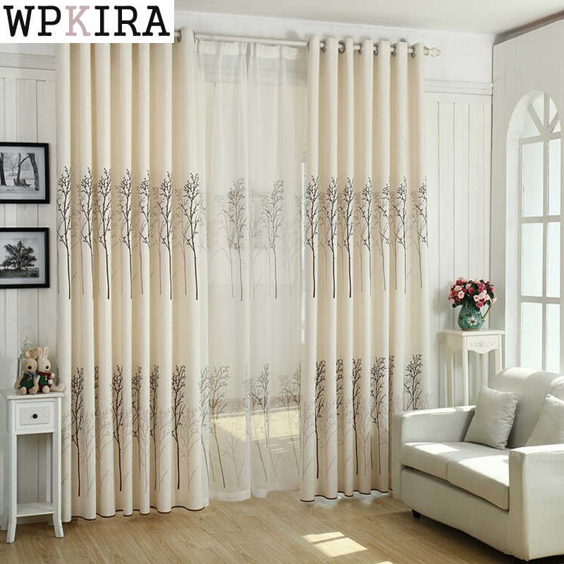 Tree Pattern Modern Curtain Cloth Voile Tulle Fresh Fashionable Curtain Drape living room Hot sale 2017 New Free ship S093&20