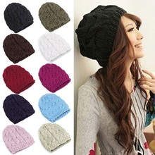 2016 New Women Ladies Cable Knitted Hats Autumn Winter Warm Hats bonnet femme Slouch Baggy Gorros Crochet Beanies Hat for women