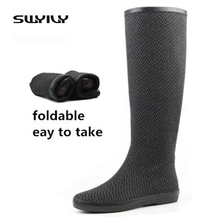 Foldable Light Easy To Take 2017 Women Rain Boots,Rubber Boots Big Plus Size 41 42 Waterproof Rain Shoes Woman