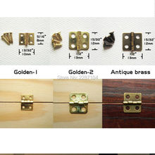 12pcs Mini Small Light Golden Antique Brass Bronze Jewelry Chest Gift Music Box Wood Case furniture Dollhouse Cabinet Door Hinge(China)