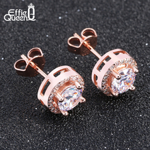 Effie Queen2017 Fashion  New Hot Popular Luxury Zircon Stud Earrings Elegant Rose Gold-Color Earrings for Women DE104-R-W