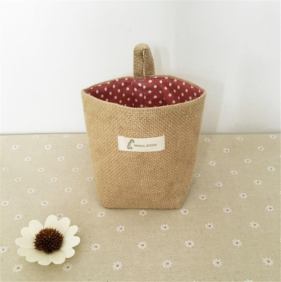Linen Woven Storage Basket Polka Dot Small Storage Sack Cloth Hanging Non Woven Storage Basket Buckets Bags Kids Toy Box (12)