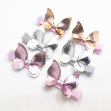 Shinny Sythetic Leather Butterfly Hair Clips Gold Silver Pink Faux Leather Animal Barrette Cute Kid Birthday Woodland Party Gift