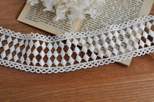 off white Cotton Lace Trim, vintage lace trim, geometric diamond pattern lace trim(China)