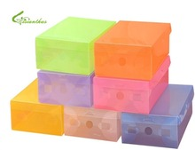 Thicken Transparent Candy Color Plastic Stackable Container Foldable Storage Case Colorful Flip Home Use Shoebox Free Shipping