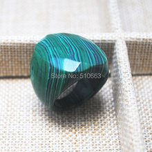 1 PC fashion men's ring Faceted Green Malachite Stone Luxury Ring Wedding,Party's Jewelry,Size: 18mm,19mm,20mm hole diameter