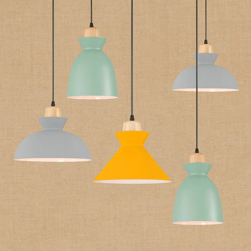 Creative wooden single head color pendant lamps personalized studio simple hotel room coffee yellow pendant light ZA112425<br>