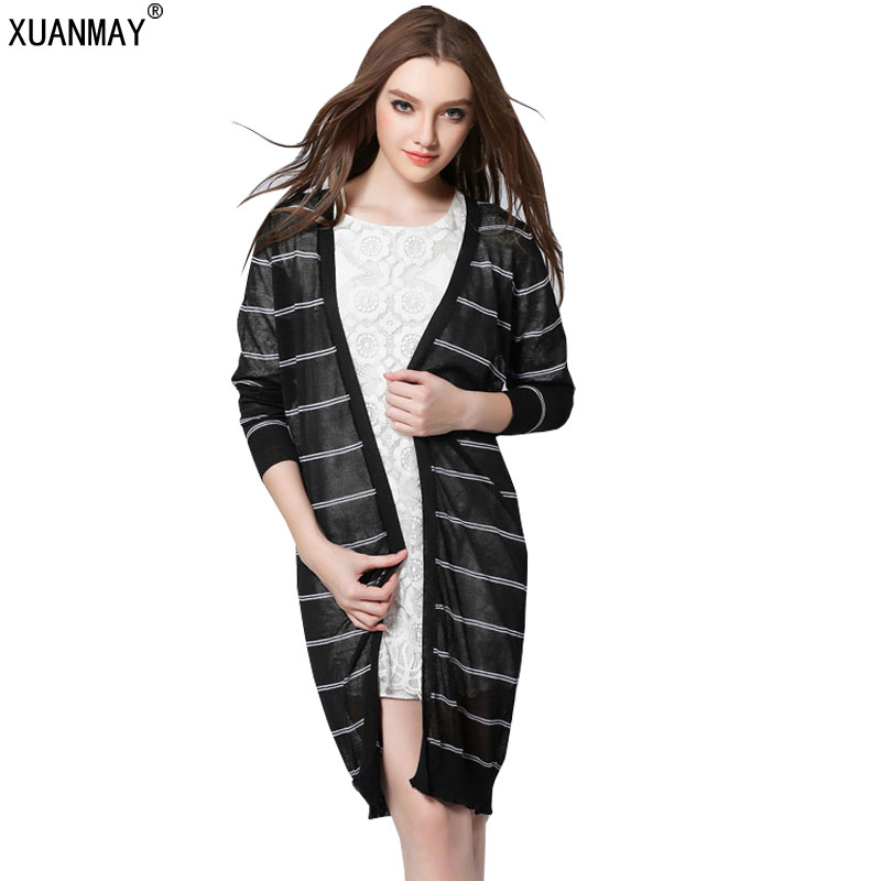2017 Spring and Autumn New Women's Sweater Long section loose Coat black and white Striped Sweater Shawl Cardigan Sweater(China (Mainland))