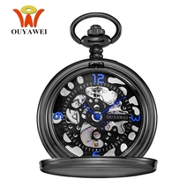 New OYW-P02 Hand Winding Mechanical Black Pocket Watch Men Vintage Black Skeleton Dial necklace pendant Pocket Chain Watches(China)