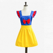 Snow White Apron Cartoon Children's Clothing Kid Girl Women Parent-Child Tablier de Cuisine Pinafore Painting Aprons(China)