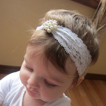 2016 New Newborn Lace Pearl Headband Diamond Hairband Kids Boutique Hair Accessories