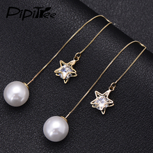 2017 Shiny Star Austrian Cystal Drop Earrings Simulated Pearl Jewelry Fashion Gold Color Ear Wire Chain Long Earrings for Women