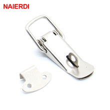 4PC NAIERDI-J106 Cabinet Box Locks Spring Loaded Latch Catch Toggle 27*63 Iron Hasps For Sliding Door Window Furniture Hardware(China)