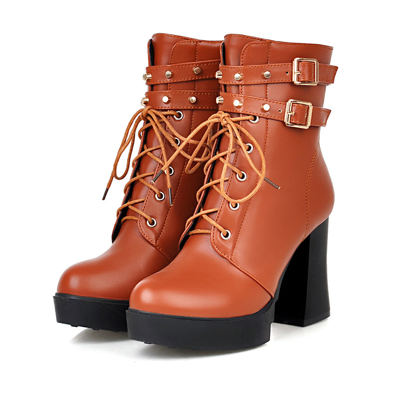 New Autumn Winter Thick High Heeled Shoes Motorcycle Boots Women Black/Brown Square Heels Ankle Boots Buckle Lace-Up Wedge Shoes<br><br>Aliexpress