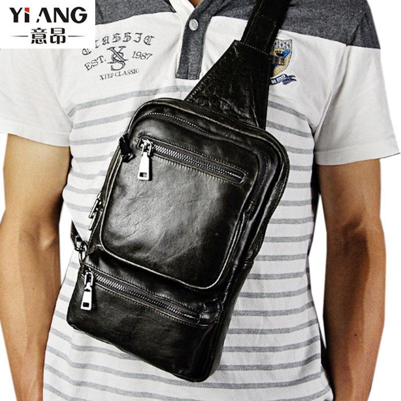 Mens Genuine Leather First layer Cowhide Vintage Trend Messenger Shoulder Bag Sling Chest Bag Day Pack <br>