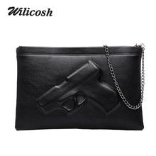 Wilicosh Pu Leather Shoulder Bags For Women 2017 Vintage Designers Leather Handbags 3D Pistol Bag Women Messenger Bags DB5097