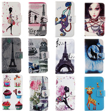 New In Stock Cartoon For Apple ipod Touch 5 5G Case Flip Protective Back Cover Skin Pouch Colored Drawing PU Leather Case