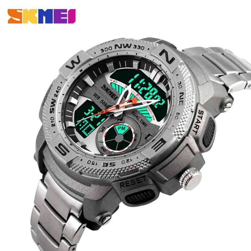 Brand Mens Quartz Watch Men LED Digital Sport Watches SKMEI Relogio Masculino Reloj Fashion Casual Stainless Steel Wristwatches<br><br>Aliexpress