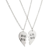New Love Big Sister Silver Sister Carved Heart Pendant Necklace Fashion Jewelry Personality Bijoux for Female