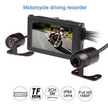 2017 latest 1080P motorcycle DVR motorbike video recorder front and rear view dual camera dash cam G-sensor optional gps tracker(China)