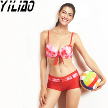 Women Swimsuit Shorts Push Up Halter Bikinis Two Pieces Sexy Pad Swimwear Crop Top Beach Bathing Suits Maillot De Bain 2017 New