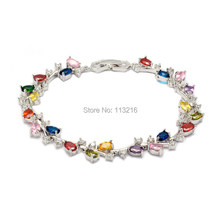 Fleure Esme The new listing Blue Yellow Peridot Purple Red Pink Morganite Cubic Zirconia Silver Plated Hot Jewelry bracelet E674(China)