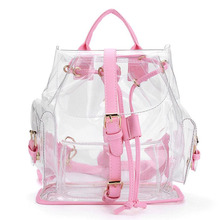 Korean cute Clear Plastic Transparent Backpacks ladies women girl student Female Backpack travel Bag PVC School Book bag(China)