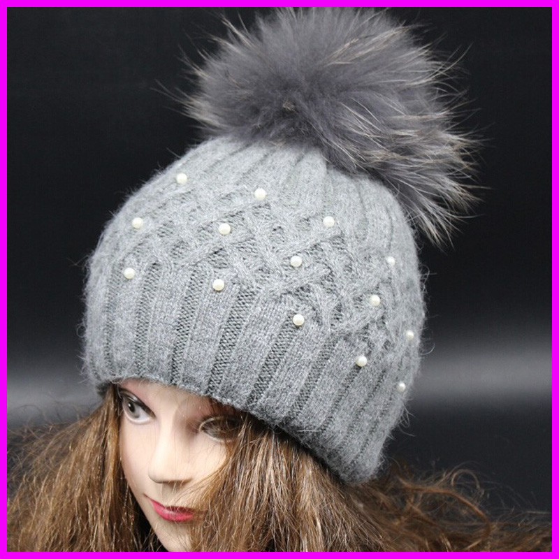 Top Quality New Fashion Lady Skullies Beanies Knit Winter Hat Cap With Real Fur Pom pom Ball Women Wool Knitted Fur HatsОдежда и ак�е��уары<br><br><br>Aliexpress