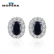 Princess Diana William Kate Middleton's 1.44ct Natural Black Sapphire Stud Earrings For Women 925 Sterling Silver Fine Jewelry(China)
