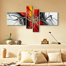 Hand Painted Oil Paintings On Canvas Red Black White Home Decoration Modern Abstract Oil Painting Wall Art For Living Roon