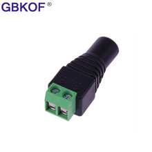 5pcs/lot DC Power Female Plug solderless Jack Adapter Connector Plug for 3528 5050 Single Color LED Strip Light 2.1 x 5.5mm(China)