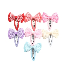 2017 Cute 7Pcs/Set Hair Bows Snap Clip Sequins Barrettes Accessories For Infants And Girls OCT31_40(China)